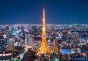 絵画風 壁紙ポスター (はがせるシール式) 東京タワー 夜景 東京オリンピック キャラクロ TKT-005A2 (A2版 594mm×420mm) 建築用壁紙+耐候性塗料 インテリア