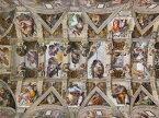 絵画風 壁紙ポスター(はがせるシール式) ミケランジェロ システィーナ礼拝堂天井画 1508-12年 システィーナ礼拝堂(ヴァチカン) キャラクロ K-MLG-001S2 (594mm×443mm) 建築用壁紙+耐候性塗料 インテリア