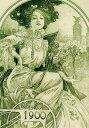 絵画風 壁紙ポスター (はがせるシール式) アルフォンス・ミュシャ パリ万博の公式晩餐会招待状の一部 1900年 アールヌーヴォー キャラクロ K-MCH-026S2 (417mm×594mm) 建築用壁紙+耐候性塗料 インテリア