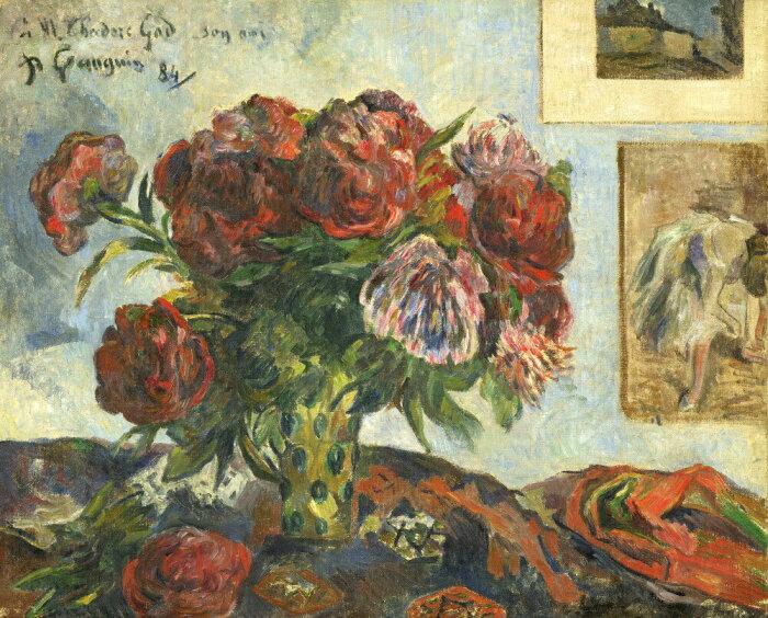絵画風 壁紙ポスター(はがせるシール式) ポール・ゴーギャン シャクヤクのある静物 1884年 ワシントン・ナショナル・ギャラリー キャラクロ K-GGN-020S2 (594mm×479mm) 建築用壁紙+耐候性塗料 インテリア
