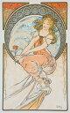 絵画風 壁紙ポスター (はがせるシール式) アルフォンス・ミュシャ 四芸術-絵画 1898年 アールヌーヴォー キャラクロ K-MCH-060S1 (576mm×911mm) 建築用壁紙+耐候性塗料 インテリア