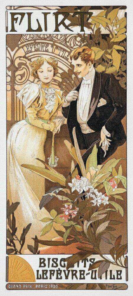 絵画風 壁紙ポスター (はがせるシール式) アルフォンス・ミュシャ 浮気女 1899年 アールヌーヴォー キャラクロ K-MCH-068S1 (576mm×1280mm) 建築用壁紙+耐候性塗料 インテリア