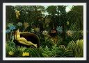 絵画風 壁紙ポスター (はがせるシール式) アンリ・ルソー 夢 1910年 The Dream ニューヨーク近代美術館 【額縁印刷/トリックアート】 キャラクロ K-RSU-003SGF2 (594mm×423mm) 建築用壁紙+耐候性塗料 インテリア