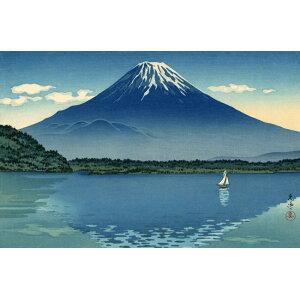 Painting style wallpaper poster (peeling type) Tsuchiya Kouyitsu Fumiko Reisan-Lake Shojin 1934 Mt. Fuji Ukiyo-e Print Chara Black K-TYK-002S2 (603mm × 395mm) Architectural wallpaper + weatherproof paint interior