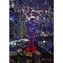 絵画風 壁紙ポスター (はがせるシール式) 東京タワー パープルライトアップ 東