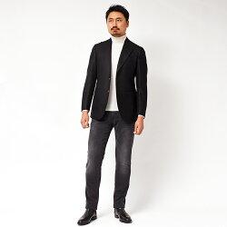 StileLatino(スティレラティーノ)ウールフランネルメランジピークドラペルシングル2Bジャケット