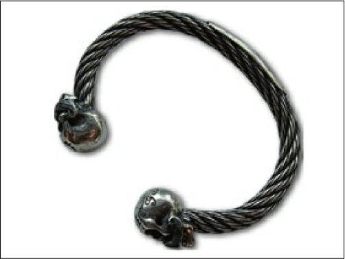 "【galcia ガルシア】バングル/""BR-WB002S""/""Mastache Skull Wire Rope Bangle"":REALDEAL"