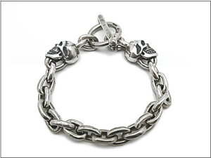 【Gabor ガボール】ブレスレットPG11 SMALL OVAL LINKS 2 SKULL BRACELET*送料・代引き手数料無料