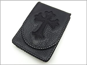 【Gabor ガボール】ポーチ122-A BUFFALO SKIN LEATHER POUCH STINGRAY BLACK CROSS★送料・代引...