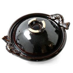 【送料無料】【土鍋】【三重県】伝統工芸品土楽(ドラク)魚手黒鍋/尺1