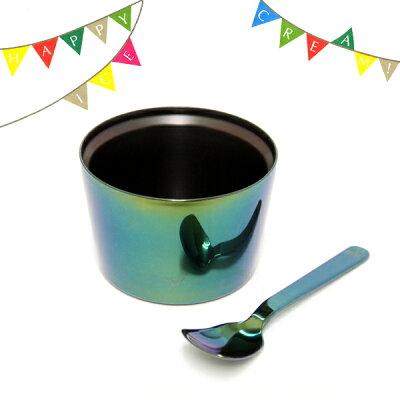 [ハーゲンダッツ][SUS GALLERY/新潟県]SUSgallery サスギャラリー Happy Ice Cream ! cup & spoon 抹茶「ハーゲンダッツのカップアイスにピッタリ!」[ハッピー・アイスクリーム!](保冷カップ/SUSギャラリー/プレゼント/和)