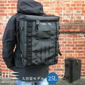 [Wild Spirits ワイルドスピリッツ]スクエアバッグ リュックサック バッグ バッグパック 収納 大容量 軽量 メンズ おしゃれ 通勤 通学 旅行 アウトドア シンプル ブラック