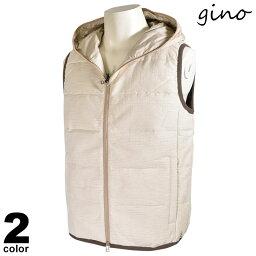 セール 30%OFF gino ジーノ ダウンベスト メンズ 2020秋冬 ダブルジップ 十字架 ロゴ 05-3502-02
