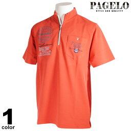 セール 60%OFF PAGELO パジェロ 半袖 ポロシャツ メンズ 春夏 プリント ハーフジップ ワッペン 93-2610-07