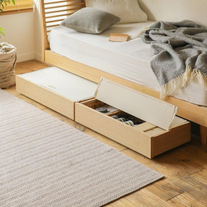 ベッドNOANAヘッドレスシングルナノテックプレミアムポケットコイルマットレスピロートップ付き寝具北欧無垢材ナチュラル送料無料