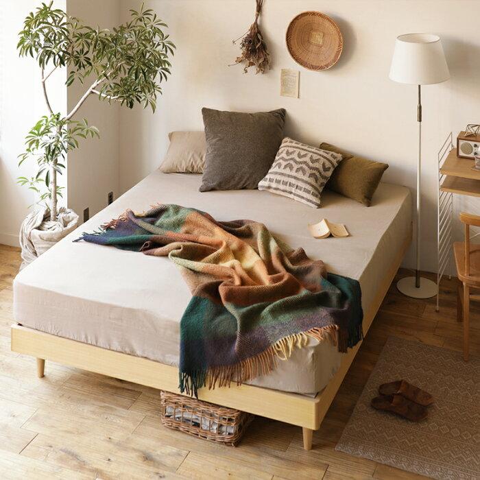 ベッドNOANAヘッドレスセミダブルゴールドプレミアムポケットコイルマットレス付き寝具北欧無垢材ナチュラル送料無料