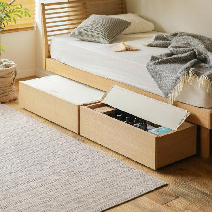 ベッドNOANAヘッドレスセミダブルナノテックプレミアムポケットコイルマットレス付き寝具北欧無垢材ナチュラル送料無料