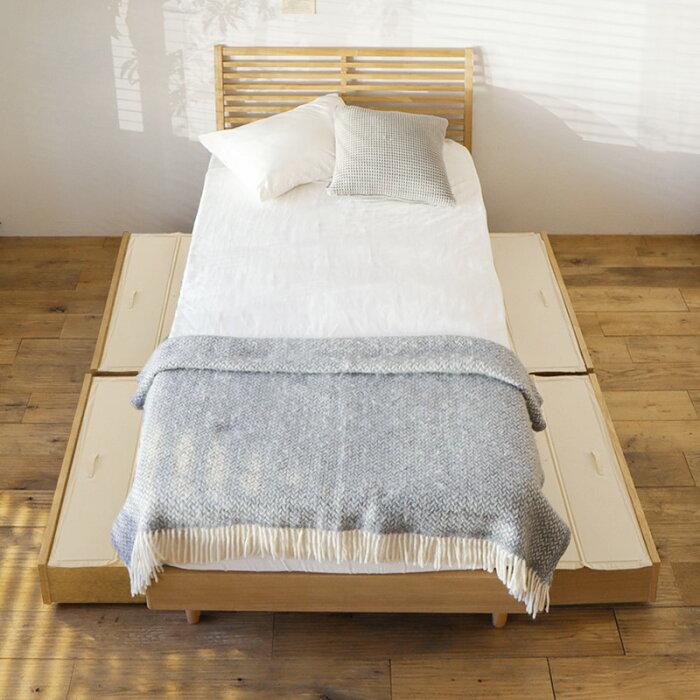 ベッドNOANAヘッドレスダブルプレミアムポッケットコイルマットレス付き寝具北欧無垢材ナチュラル送料無料