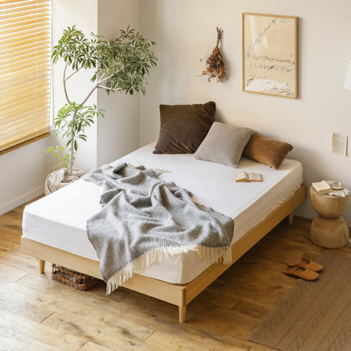 ベッドNOANAヘッドレスクイーンナノテックプレミアムポケットコイルマットレス付き寝具北欧無垢材ナチュラル送料無料