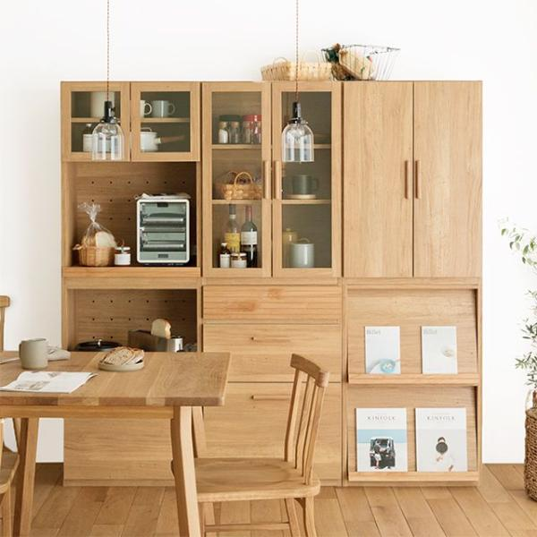 食器棚 北欧 シンプル ナチュラル 西海岸 木製 おしゃれ 送料無料 日本製 Rekit Bセット