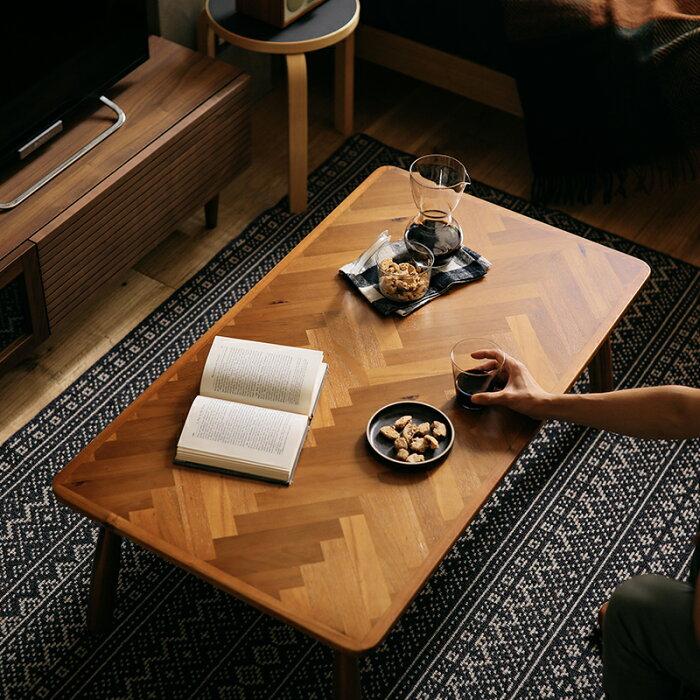 こたつテーブルLauraヘリンボーン長方形105北欧ヴィンテージ西海岸木製おしゃれ送料無料即日出荷可能