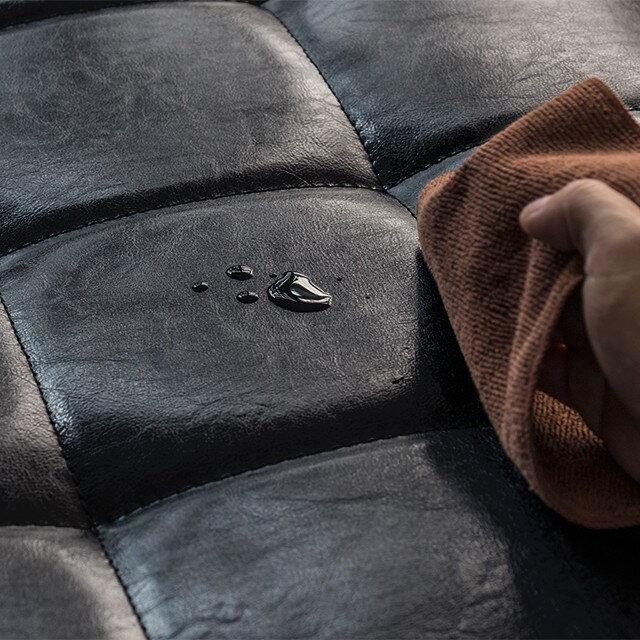 スツールオットマンFIXヴィンテージ西海岸ブラックレザー合成皮革