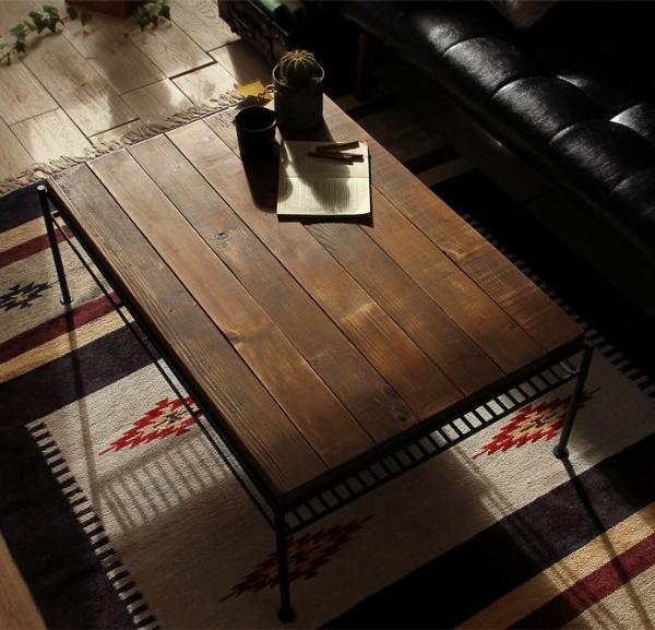 KeLT ケルト リビングテーブル ヴィンテージ ビンテージ インダストリアル 西海岸 ブラウン 木製 無垢 おしゃれ 送料無料【開梱設置付】