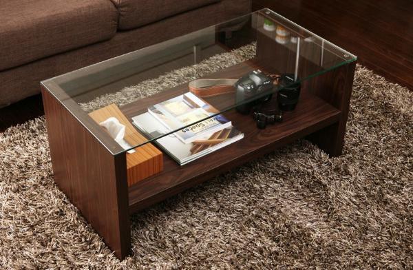 ガラステーブル STIN 北欧 モダン レトロ ガラス 木製 ブラウン ホワイト 即日出荷可能