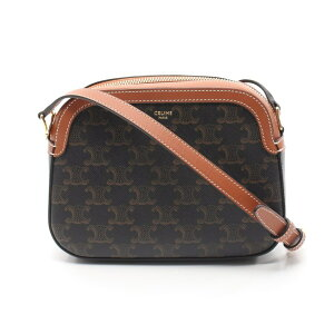 Celine CELINE Small Camera Bag Macadam Shoulder Bag Trionf Canvas PVC Black Brown Crossbody [Ladies] [Used] [Free Shipping]