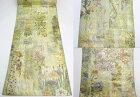 【送料無料】西陣あさぎ近代花鳥画プラチナ本金箔正絹袋帯【中古】