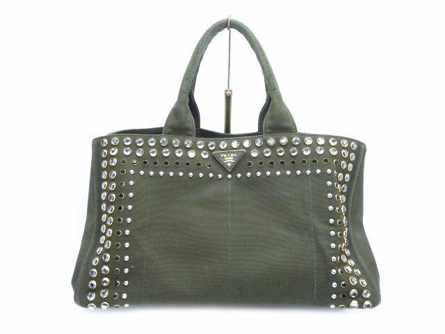9b5d614f099c 【送料無料】PRADA/プラダ カナパ スタッズ トートバッグ【】 マチの広い大容量バッグです☆
