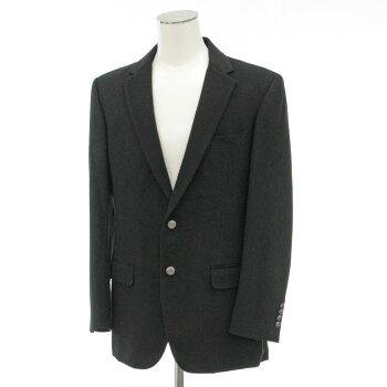 【中古】★プリッグス×プレイボーイカシミヤ100%テーラードジャケットサイズ52★black/黒/ブラック/PRIG