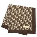 【中古】◆Christian Dior クリスチャンディオール トロッター シルク100% スカーフ◆ brown /茶/ブラウン/レディース/小物/ロゴ/ヴィンテージ調