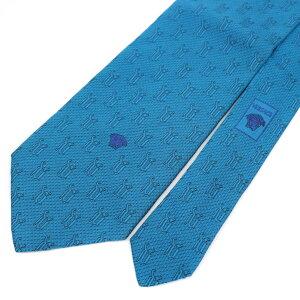 ◆VERSACE ヴェルサーチ シルク100% 総柄ネクタイ◆ blue /青/ブルー/イタリア製/スーツ/ビジネス/メンズ/男性用/服飾小物/ブランド雑貨【中古】