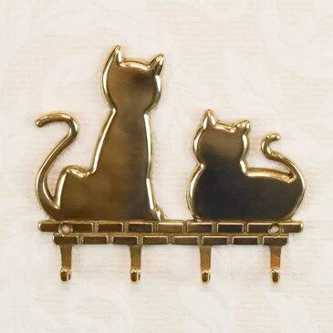 真鍮 猫 4連フック W11.7×H10.5cm イタリア製 84456