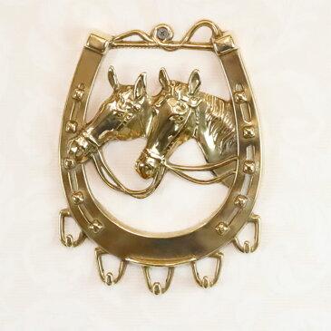 真鍮 馬 5連フック W16×H21cm イタリア製 84402