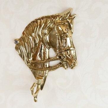 真鍮 馬 フック 1連 W14.5×H21cm イタリア製 84399