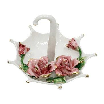置物 おしゃれ 陶花 イタリア製 傘 姫系 雑貨 かわいい 薔薇雑貨 バラ雑貨 上品 インテリア 81494 花柄