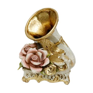 置物 おしゃれ 陶花 イタリア製 蓄音機 花柄 姫系 雑貨 かわいい 薔薇雑貨 バラ雑貨 上品 インテリア 81508