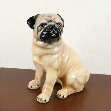 置物 パグ おしゃれ 犬 陶器 W35×D25×H44cm イタリア製 オブジェ 41066