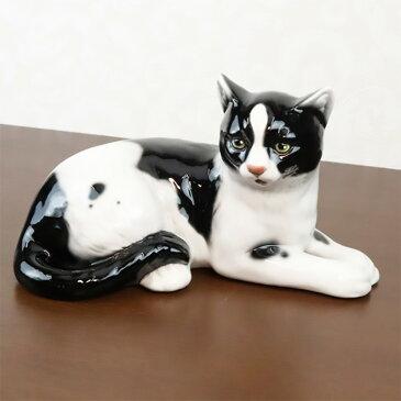 猫 置物 陶器 W30×D16×H18cm イタリア製 41169