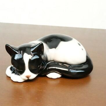 猫 置物 陶器 W15×D9×H6.5cm イタリア製 41165