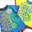 【子供服】春夏新作!綿100%チェックのレイヤー風デザインTシャツ