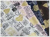 【綿麻キャンバス】GOLDハートのロゴ柄コットンリネン