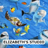 【USAコットン】ELIZABETH'SSTUDIO<SEA>海のアニマル柄生地布アニマルエリザベスズスタジオエリザベススタジオ