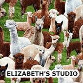 【USAコットン】ELIZABETH'Sラマ柄生地布アニマルエリザベスズスタジオエリザベススタジオ