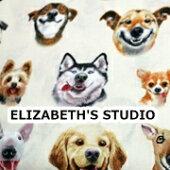【USAコットン】ELIZABETH'SSTUDIO笑う犬柄生地布アニマルエリザベスズスタジオエリザベススタジオ