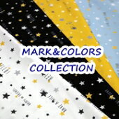 【オックス】MARK&COLORSCOLLECTION<ロゴスター柄>ルシアン生地布