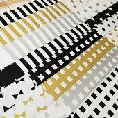 【オックス】モノトーン・ゴールド・シルバーのミックス柄綿100%約110cm巾生地布※50cm単位でカット