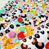 【シーチング】親子パンダと動物たち綿100%約110cm巾布生地バンビぞう小鳥うさぎ